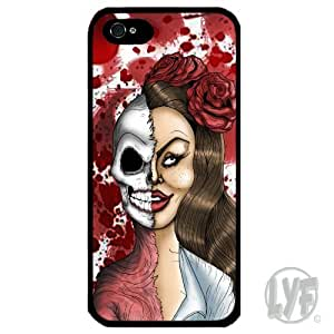 Cover for Iphone 4 4S Zombie Skull Half girl art rose blood splatter Phone case