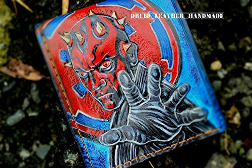 Leather Carving,Star War Wallet, Red Devil Wallet, Darth Maul,Carved Wallet, Mens leather wallet, Hand-carved, Airbrush Art, Leather Handmade, 3D -
