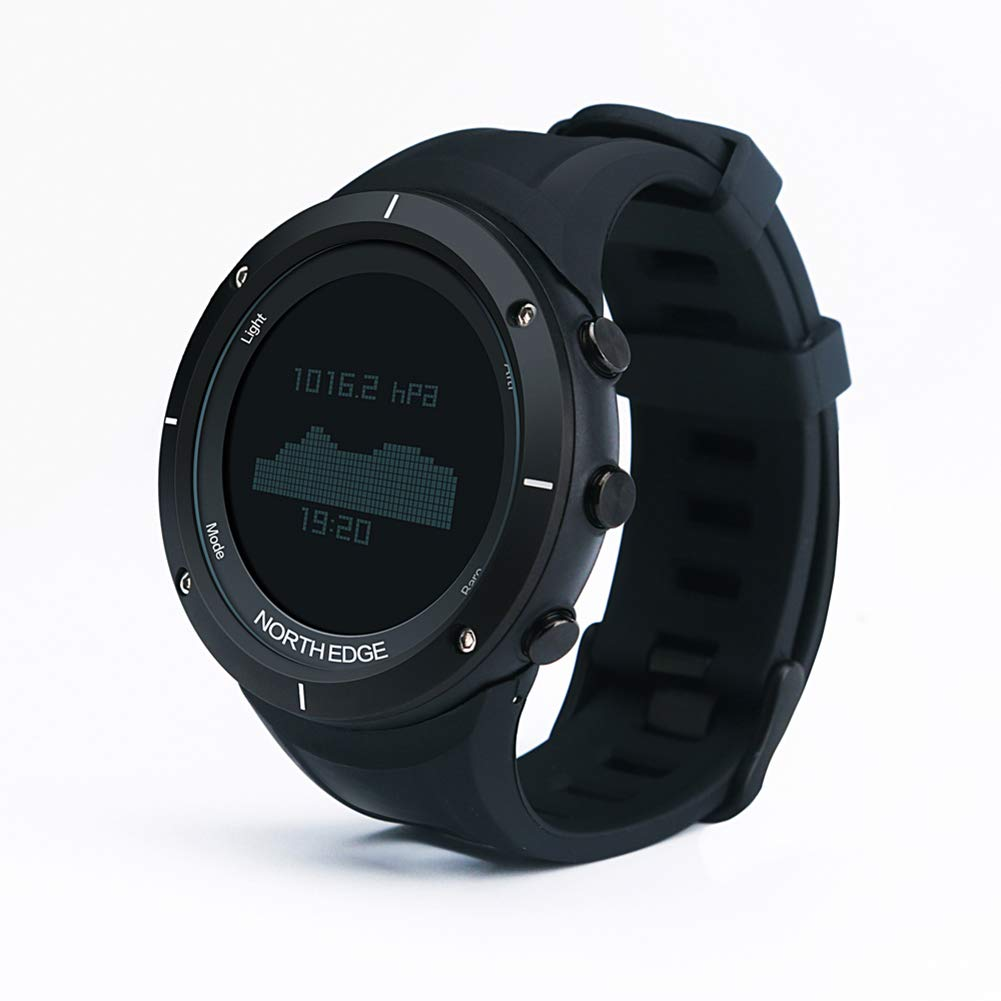 OOLIFENG GPS Running Watches, Men's Sport Smart Watch HR with Altimeter/Barometer/ Compass/Thermometer/ Pedometer,Black