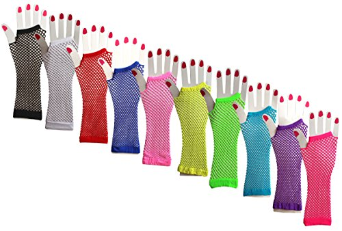 [Stretchable Fingerless Diva Fishnet Gloves (10 Pairs) - Assorted Colors] (Fishnet Gloves)
