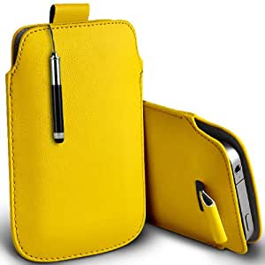 ONX3 Alcatel One Touch Fire E Leather Slip Protective PU de cordón en la bolsa del lanzamiento rápido con Mini capacitiva lápiz bolígrafo retráctil (amarillo)