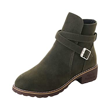 3286bd5f7f8f Ankle Boots Women, Xinantime Ladies Autumn Winter Middle Heels Martin Shoes  Faux Warm Flat Ankle Boots Lace Up Boots Women Shoes: Amazon.co.uk: Clothing