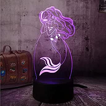 LXXYD 3D Visual Light Optical Illusion Led Night Light - Children's Day Gift Little Mermaid Princess Led Baby Night Light Table Lamp Home Decoration Party Children's Toys