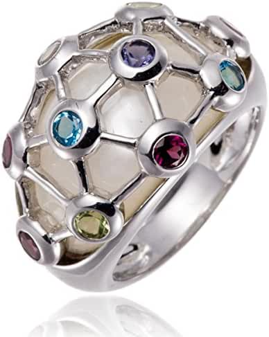 Hutang Jewelry Sterling Silver Multi-color Gemstones & Mother of Pearl Ring