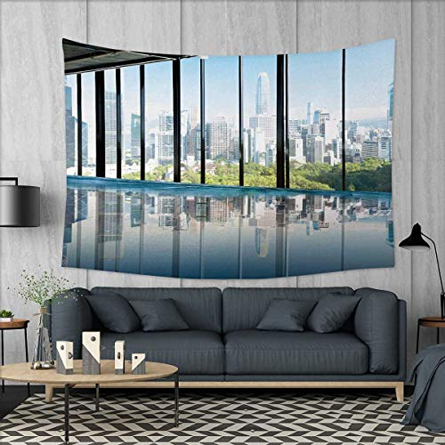 Anniutwo Modern Home Decorations for Living Room Bedroom Metropolitan Cityscape of New York USA in Central Park Forest Photograph Wall Tapestry W80 x L60 (inch) Sky Blue and Green