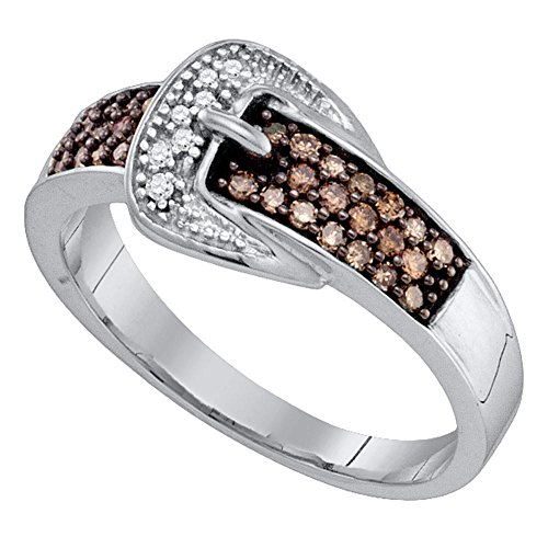 - Brown Diamond Buckle Ring Solid 10k White Gold Buckle Band Chocolate Round Cluster Style Fancy 1/4 ctw