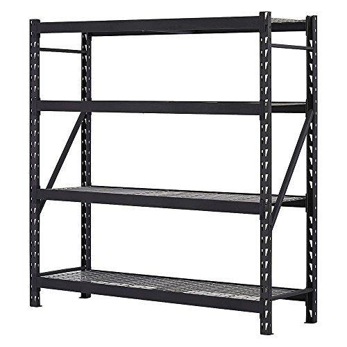 Storage Rack Unit, Steel, Black, 77in. W.