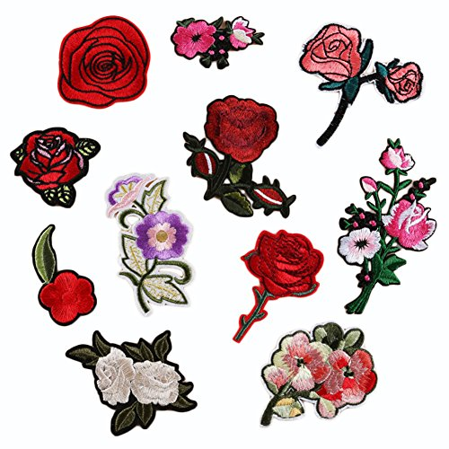Taloyer 11pcs Lovely Flower Roses Cloth Paste Stickers Repair Patches Iron Sew On Embroidered Fabric Garment Appliques DIY Clothing Accessories Craft Kids Clothing Hat Bag Decor