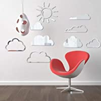Wangxiaojie Sun Cloud Mirror Wall Sticker Acrylic Cartoon Wall Stickers For Kids Room Bedroom Wall Art Decals Mural Home…