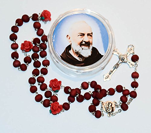 Rose Scented St. Pio Rosary Beads with Saint Pio Rosary Box & Lourdes Prayer ()