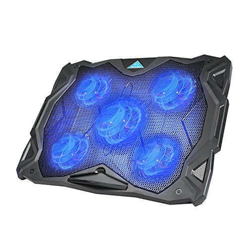 Notebook Cooler Usb (Laptop Cooling Pad, TeckNet USB Powered Silent Gaming Laptop Notebook Cooler Cooling Pad Stand with 5 Fans and Blue LED Lights for MacBook Pro, Fits 12