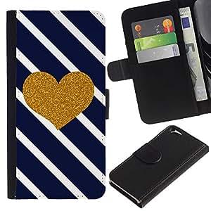 [Neutron-Star] Modelo colorido cuero de la carpeta del tirón del caso cubierta piel Holster Funda protecció Para Apple (4.7 inches!!!) iPhone 6 / 6S [Corazón Diagonal Negro White Stripes]