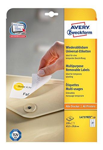 Avery Zweckform L4737REV-10 Universal-Etiketten (A4, 270 Etiketten ablösbar, 63,5 x 29,6 mm) 10 Blatt weiß