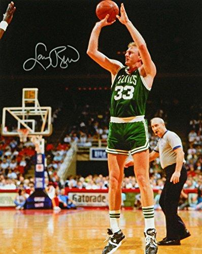 Larry Bird Signed Celtics Green Jersey Jump Shot 16x20 Photo