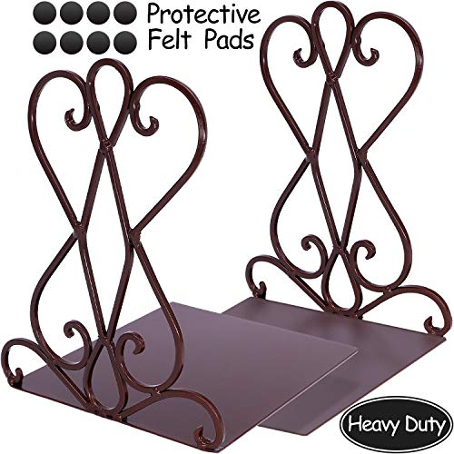 Anwenk Vintage Bookends Book Ends Bronze Heavy Duty Book Holders Long Base Luxury Art Retro Antique Style Holiday Gift, w/Felt Pads to Protect Bookshelf Bookcase, Bronze