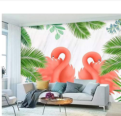Weaeo カスタムの壁紙北欧の小さな新鮮な熱帯雨林植物フラミンゴTvの壁3D壁紙壁紙-350X250Cm B07H6Q7V5K 350X250CM 350X250CM