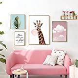 Decorating Bedroom Bedroom Study Photo Wall Modern Minimalist Fresco Wall Painting Hanging Picture Frame Small Fresh Combination Drawing Nordic Living Room ( Size : 16090cm )