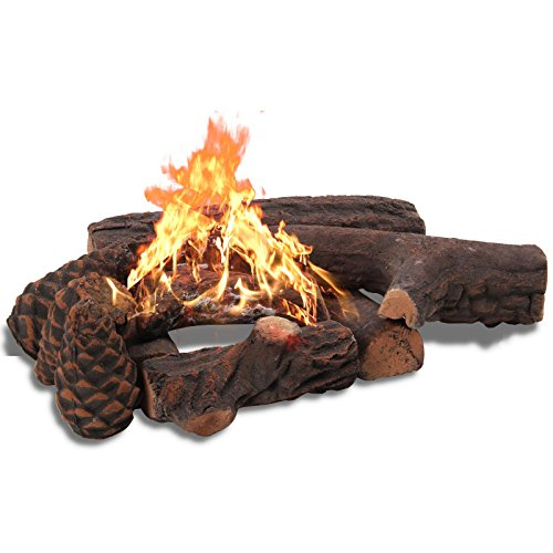 Gas Logs, Set of 9 Fireplace Ceramic Wood for Indoor, Gas Inserts, Ventless & Vent Free, Propane, Gel, Ethanol, Electric, or Outdoor Fireplaces & Fire Pits Decoration (9PCS) (Gel Logs)