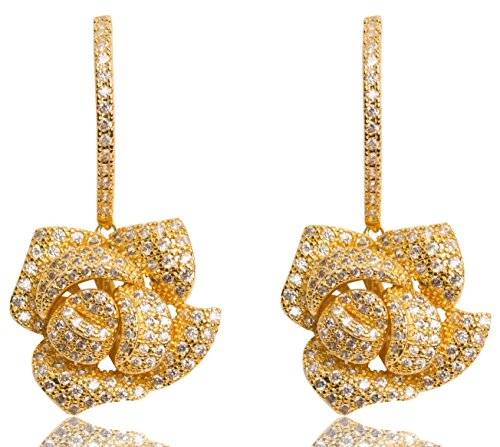MISASHA Women Fashion Camellia Rhinestone Blingy Earrings Studs