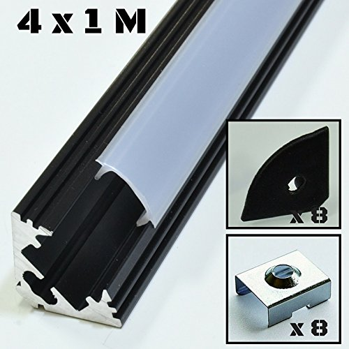 4er SET Alu Profil P3 1m Aluminium  schwarz Abdeckung  opal Inkl. Endkappen und Montageklammern f�r LED-Streifen