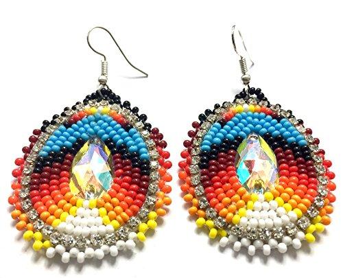 Handmade Beaded Teardrop Earrings (Orange) (Native American Beaded)