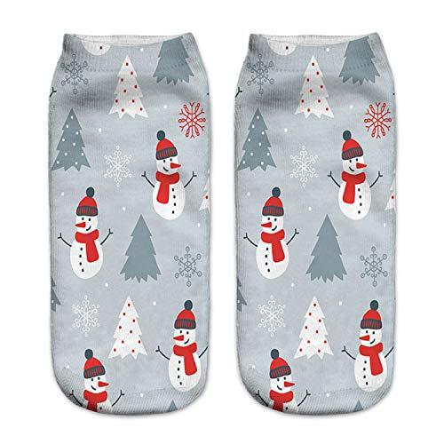 Mydufish 3D Printed Christmas Women Casual Cute Unisex Low Cut Ankle Socks Santa Claus S ()