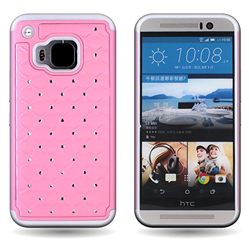 Heavy Duty Aaa Cell - HTC One M9 Diamond Armor Phone Case (Light Pink / White) | CoverON (Aurora) Shockproof Hybrid Crystal Bling Series | Protective Jewel Studded Dual Layer Cover for HTC One M9