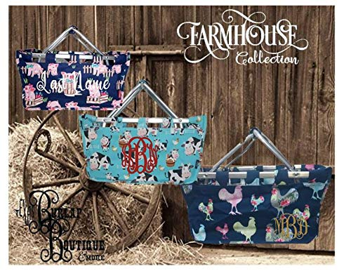 FREE Personalization ~ Farmhouse Collection ~ Cows ~ Rooster ~ Pigs ~ Collapsible Market Basket~ Picnic Basket ~ Farm Life ~ Animal Print