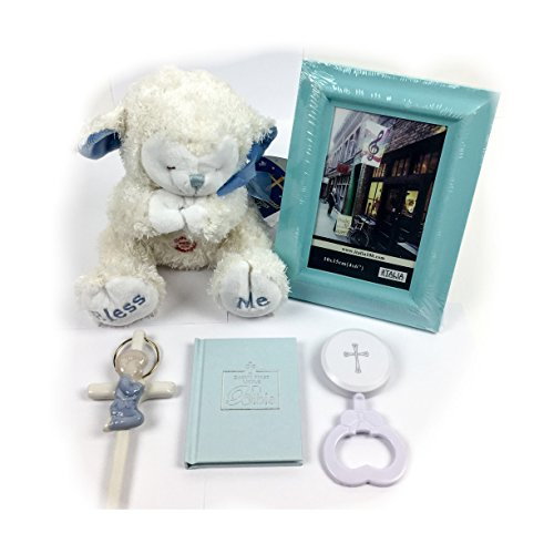 "Bless this Baby Boy: Adorable Keepsake Gift Set bundle including 5 items: 8"" Bless Me Praying Lamb plush, Baby's First Little Bible, Crib Wall Cross, Rattle, Picture Frame with gift box & bow"