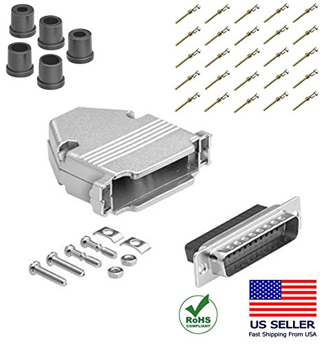 (CompuCablePlusUSA.com Best DB25 Male Connector Kit, DB25 Male Crimp Type Metal Hood+25 Gold Plated Pro D-Sub Male Pins+Strain Relief Grommet, Most Complete DB25 Connector Kit Set)