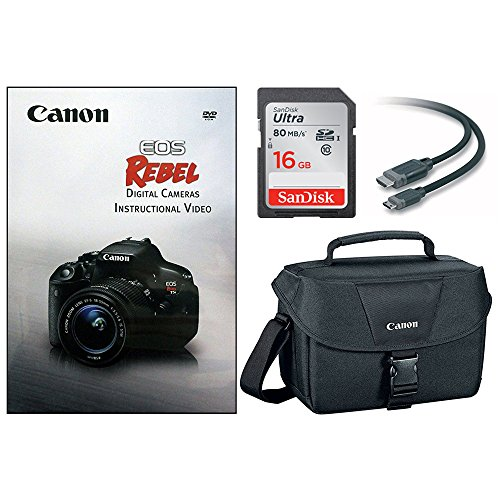 Canon DSLR Camera Accessory Bundle with Gadget Bag/EOS Rebel DVD/16GB SD Card/HDMI Cable by Canon