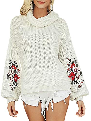 Simplee Plus Women's Embroidered Floral Pullover Turtleneck Chunky Sweater