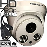 Ventech HD 720P 1 Megapixel Dome Security Poe IP Camera, 1280X720p High Resolution, 20 Meters Night Vision, Supports Easy Remote View by Iphone, Andriod Phone, Pad and Windows PC