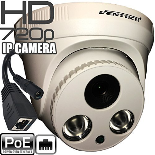 Network ip Camera ventech with video and power over cat5 720P POE (Power Over Ethernet ) indoor Home Security Surveillance Cam,Night Vision big ir led Stabler Connection Compared Wifi by VENTECH