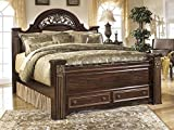 Signature Design by Ashley B347506764S98 Gabriela Collection Queen Size Poster Bed in Dark Reddish Brown