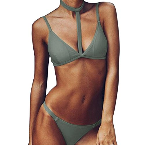 Lamolory Womens Swimsuits, Bikini Set Push-up Bra Suit Swimwear Bathing Beachwear (S, Green)