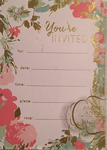 Gold Foil Embellished Youre Invited Pastel Floral Boxed Party Invitations- 10 Single Panel Fill-in Invitation Cards & White Envelopes