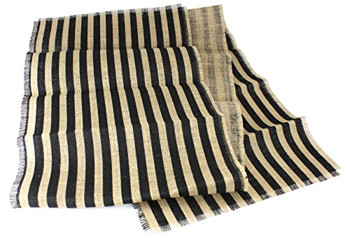 """Kel-Toy Inc Striped Burlap Table Runner, 15"""" by 72"""", Natural"""