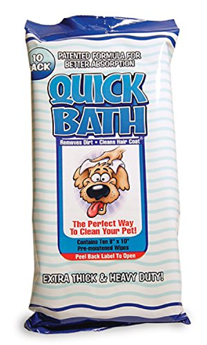 Quick Bath Dog Wipes, Reduces Odor & Bacteria with All-Natural Skin Conditioners and Cleaners, Extra Thick & Heavy Duty for Large Dogs, 10 ()