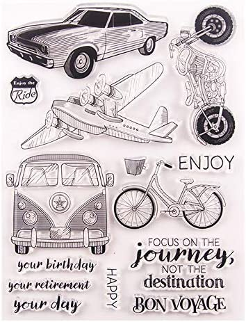 Bon Voyage Happy Birthday Retirement Plane Car Bus Bicycle Motor Journey Clear Stamps for Card Making Decoration and DIY Scrapbooking Tools
