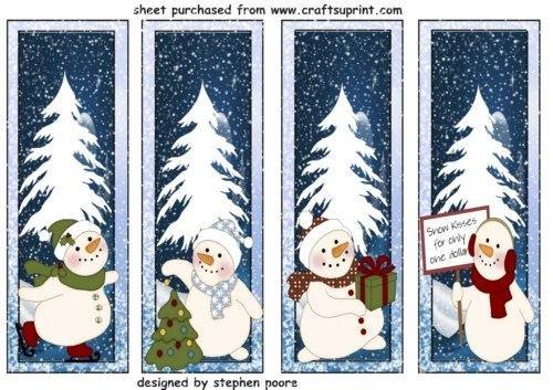 4 segnalibri pupazzo di neve/Natale topper by Stephen Poore Craftsuprint