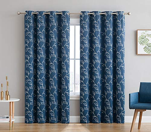 HLC.ME Carol Floral Embroidered Thermal Blackout Window Curtain Grommet Panels - Energy Efficient - Room Darkening - Great for Living Rooms & Bedrooms - Set of 2 (52