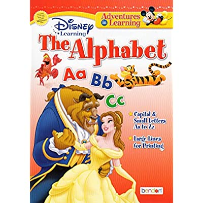Disney Themed Alphabet, Reading, Numbers, and Time Workbook Set - 4 Count: Office Products