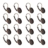 NBEADS 200 Pcs Antique Bronze Brass Lever Back Hoop Earrings Components, with Flat Round Tray Open Loop Leverback Earring Hoop for Earring Making
