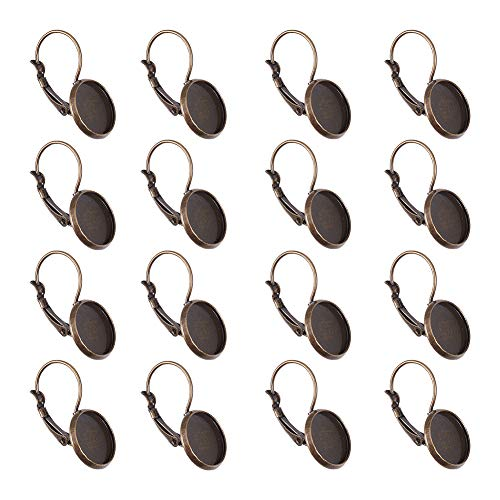 NBEADS 200 Pcs Antique Bronze Brass Lever Back Hoop Earrings Components, with Flat Round Tray Open Loop Leverback Earring Hoop for Earring Making (Bronze Leverback Earring Hooks)