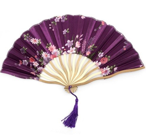 Purple Bamboo Hollow Flower Hand Fan Folding Pocket Fan Wedding Decoration Mariage by Hand Fan