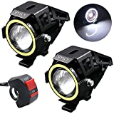 motorcycle yellow headlight - LYLLA Motorcycle LED Headlight CREE U7 with Angel Eyes Ring and Switch (Pack of 2, White)