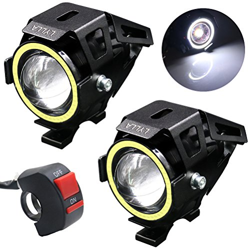 LYLLA Motorcycle LED Headlight CREE U7 with Angel Eyes Ring and Switch (Pack of 2, (Angel Motorcycle)