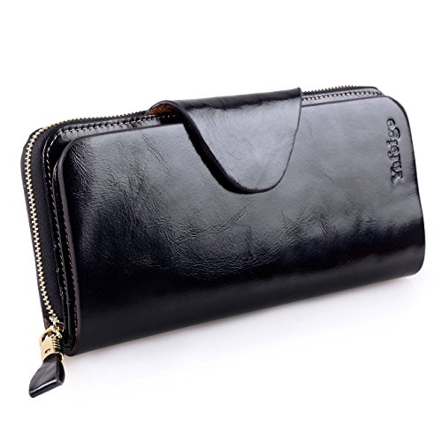 Yafeige Large Luxury Women's RFID Blocking Tri-fold Leather Wallet Zipper Ladies Clutch Purse(1-Waxed Black)