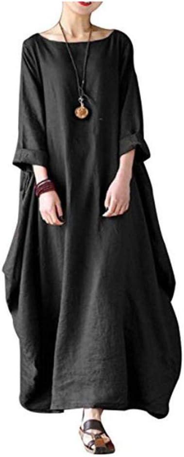 RENJIANFENG Vestido Otoño Mujer Vestido Suelto Casual Algodón De ...